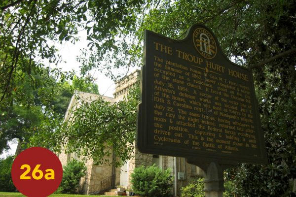 """STOP 26a: """"Site of Troup Hurt House, Manigault's Breakthrough (DeGress Avenue)"""" [2004]"""