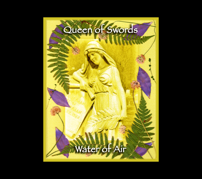 Cemetarot Court Card: Queen of Swords / Pressed with Fern, Clover, & Clematis (Witch Hazel Press ©)