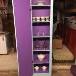 "Rescued Wares » ""Vlad's"" interior door is the same rich purple as the shelves."