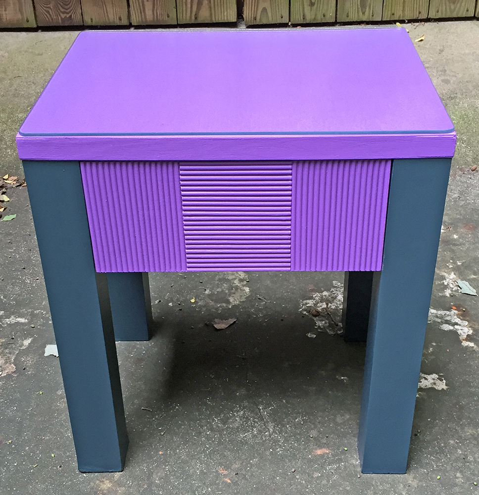 "Rescued Wares » ""Violet"" was a curbside orphan. She's the first piece I refurbished using a new technique to paint without sanding. A glass cutting board worked as a topper!"