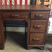 "Rescued Wares » ""Jennings"" is a mid-sized desk likely made in the 1930s. With some minor repairs and a refinish, ""Jennings"" is ready for a new home."