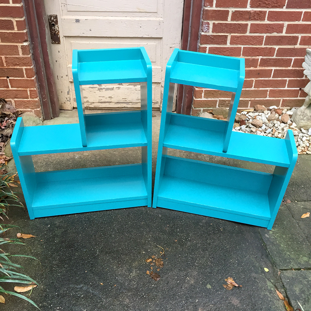 """Rescued Wares » Miles & Selim were found discarded at the side of the street, """"Selim"""" and his twin """"Miles"""" were cleaned up and refreshed with a coat of bright aqua paint. A great pair for display!"""