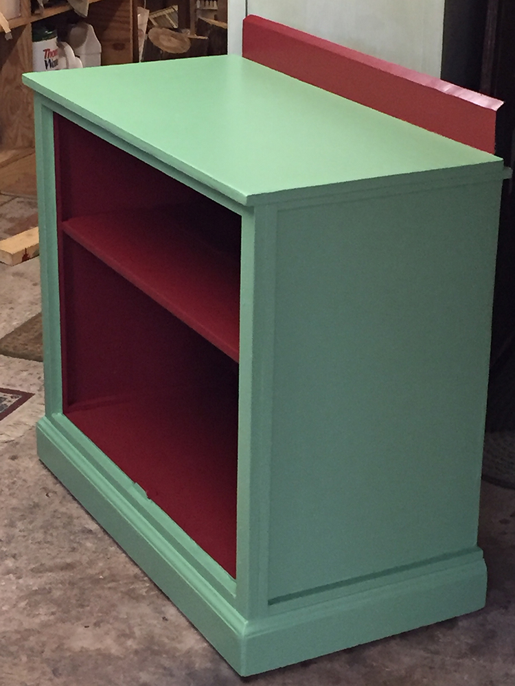 Rescued Wares » Kermit is a large open front cabinet with a fun color scheme perfect for artful display and storage.