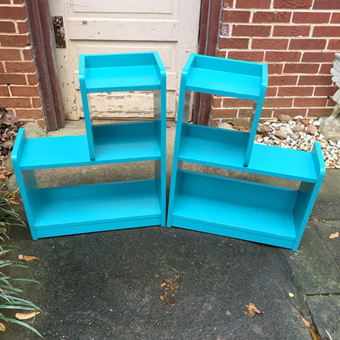 "Rescued Wares » Miles & Selim were found discarded at the side of the street, ""Selim"" and his twin ""Miles"" were cleaned up and refreshed with a coat of bright aqua paint. A great pair for display!"