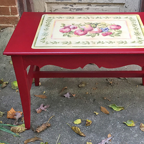 "Rescued Wares » ""Fiona"" began life as a padded bench. I found her rain-soaked on the curb and gave her a new purpose as a table with a 1940s feel!"