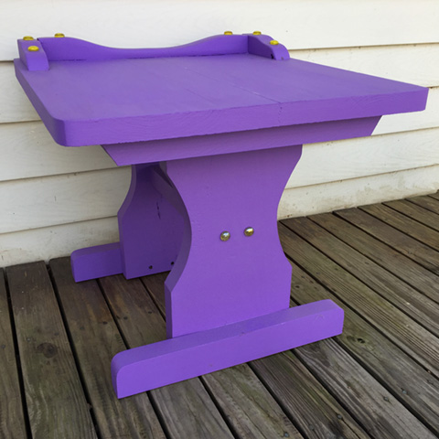 "Rescued Wares » This is ""Iris,"" a rescue I painted a vivid purple. Fitted with a glass top, she's ready to serve as a sturdy addition to your decor!"