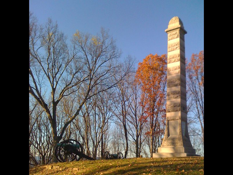 Battles for Chattanooga: [2009] The De Long Reservation and 2nd Minnesota Monument, site of that regiment's scaling of Missionary Ridge—one of the first units to reach the top