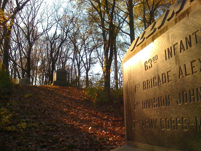 Battles for Chattanooga: [2009] A row of Illinois markers down Tunnel Hill towards the river, marking final positions