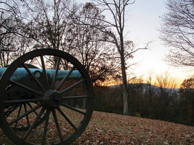 Battles for Chattanooga: [2014] Looking down the ridge from the Bragg Reservation at Lookout Mountain framed by sunset