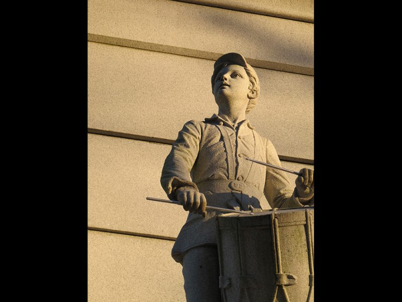 Battles for Chattanooga: [2014] Close-up of the drummer boy on the Ohio Monument