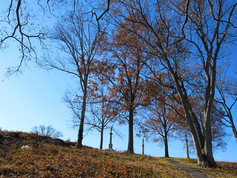 Battles for Chattanooga: [2014] The north slope of Orchard Knob, monuments on its peak
