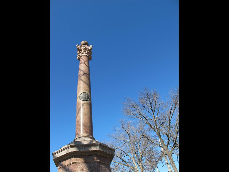 Battles for Chattanooga: [2014] The red marble Wisconsin Monument on Orchard Knob