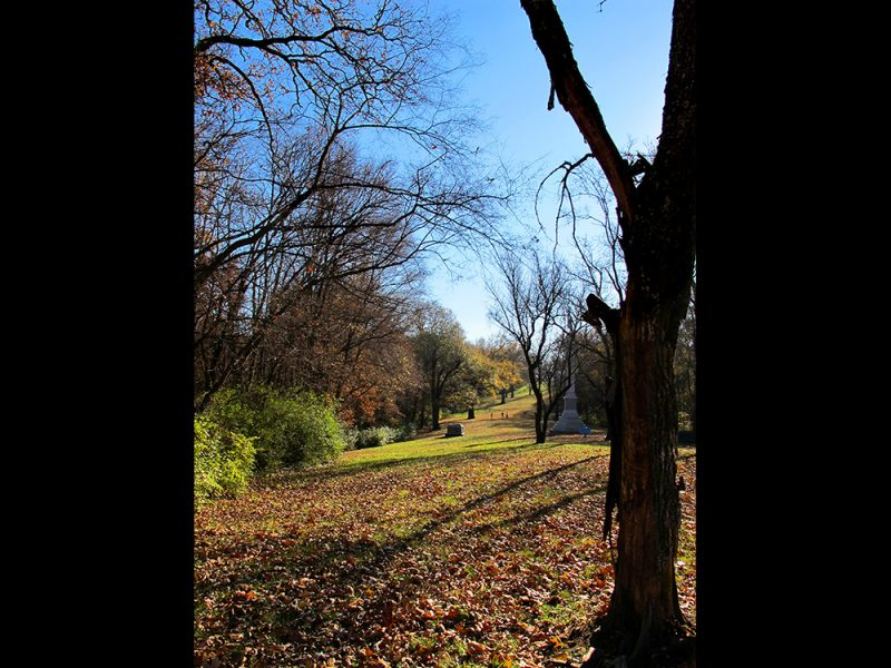 Battles for Chattanooga: [2014] The start of the main Union assault route on the lower slope of Tunnel Hill, the Confederate position having lined the top of the hill in this view