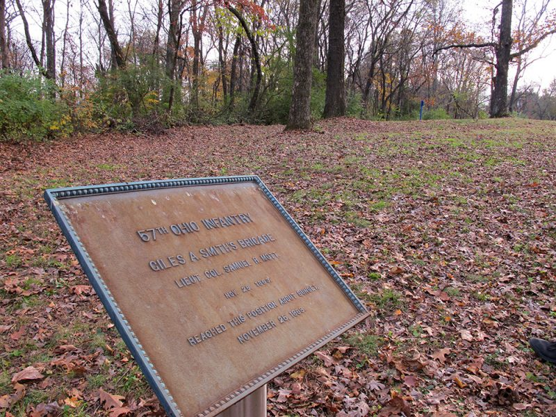 Battles for Chattanooga: [2015] A century-old metal plaque marking final Union positions further down Tunnel Hill