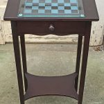 """Rescued Wares » I got """"Spenser"""" at a junk shop and liked his nicked but beautiful finish too much to paint him. A little dark stain magic did the trick. An old glass chess board just fit him!"""