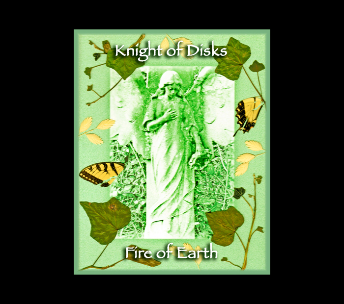 Cemetarot Court Card: Knight of Disks / Pressed with Ivy, Oat, & Butterfly Wings (Witch Hazel Press ©)