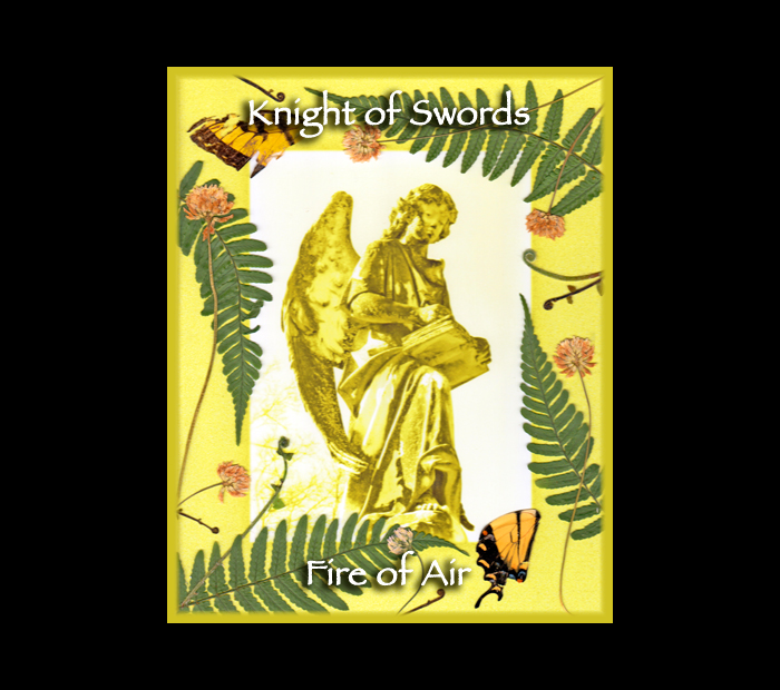 Cemetarot Court Card: Knight of Swords / Pressed with Fern, Clover, & Butterfly Wings (Witch Hazel Press ©)
