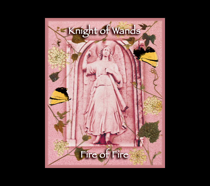 Cemetarot Court Card: Knight of Wands / Pressed with Vine, Queen Anne's Lace, & Butterfly Wings (Witch Hazel Press ©)