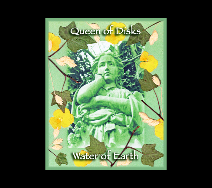 Cemetarot Court Card: Queen of Disks / Pressed with Ivy, Oat, & Pansy (Witch Hazel Press ©)