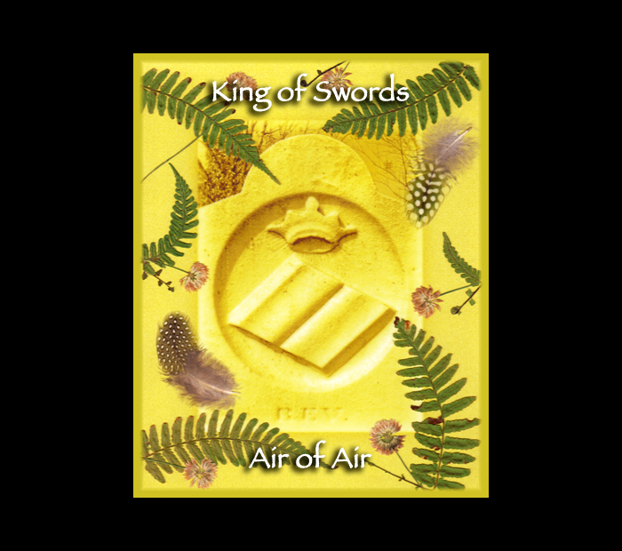 Cemetarot Court Card: King of Swords / Pressed with Fern, Clover, & Guinea Fowl Feathers (Witch Hazel Press ©)