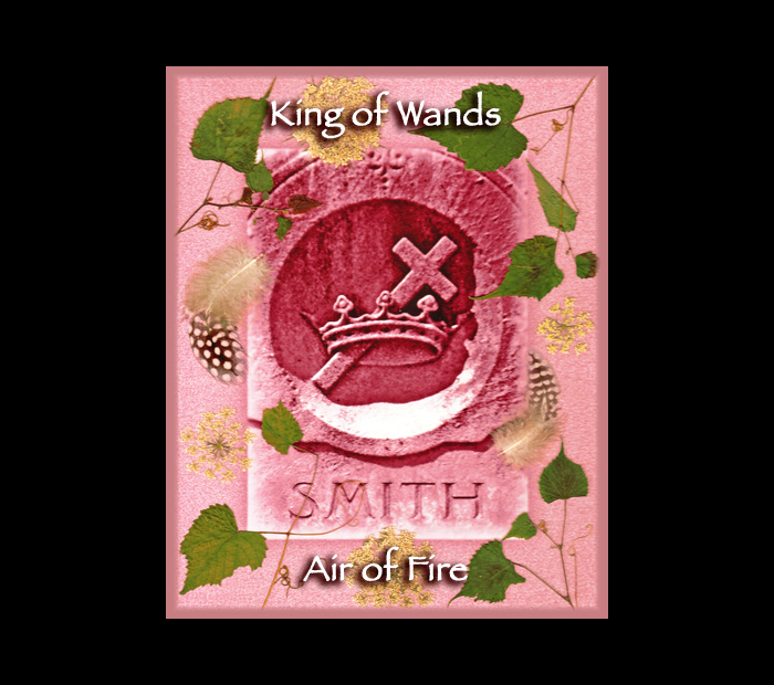 Cemetarot Court Card: King of Wands / Pressed with Vine, Queen Anne's Lace, & Guinea Fowl Feathers (Witch Hazel Press ©)
