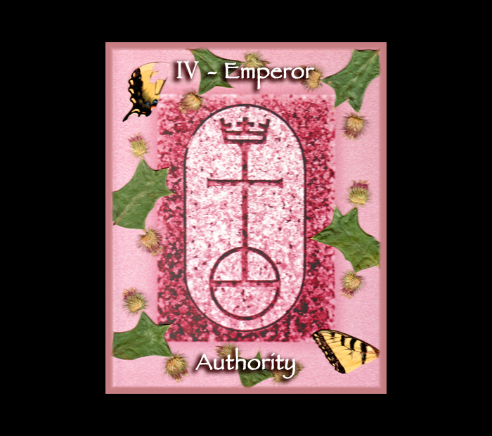 Major Arcana: Emperor / Pressed with Holly, Thistle, & Butterfly Wings (Witch Hazel Press ©)