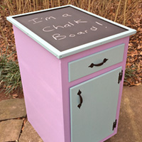 """Rescued Wares » """"Rosabelle"""" was a neighbor's kitchen tear-out. Fun colors and a new chalkboard topper transformed her into a cute playroom or studio piece."""