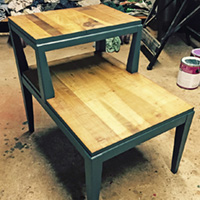 """Rescued Wares » """"Abner"""" was in the basement for years. I stripped his tattered veneer, stained the top and gave him a fresh coat of dark green paint. Truly 'urban cabin'!"""