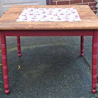 """Rescued Wares » Because he had difficulty standing on his spindly legs when I got him, I named this table """"Bambi"""". Wobbly no more, he has been finished in cherry paint and oak stain."""