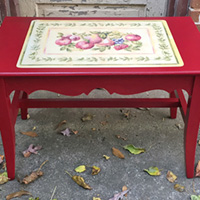 """Rescued Wares » """"Fiona"""" began life as a padded bench. I found her rain-soaked on the curb and gave her a new purpose as a table with a 1940s feel!"""
