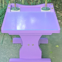 """Rescued Wares » This is """"Iris,"""" a rescue I painted a vivid purple. Fitted with a glass top, she's ready to serve as a sturdy addition to your decor!"""