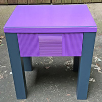 """Rescued Wares » """"Violet"""" was a curbside orphan. She's the first piece I refurbished using a new technique to paint without sanding. A glass cutting board worked as a topper!"""