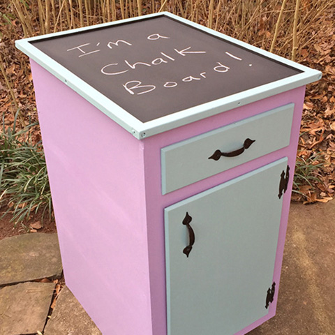 "Rescued Wares » ""Rosabelle"" was a neighbor's kitchen tear-out. Fun colors and a new chalkboard topper transformed her into a cute playroom or studio piece."